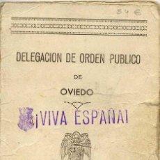 Militaria: SALVOCONDUCTO. OVIEDO 1938. CON FOTOGRAFÍA. . Lote 3851895
