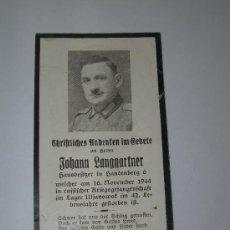 Militaria: TARJETA CONMEMORATIVA MUERTE SOLDADO ALEMAN(012). Lote 27158305