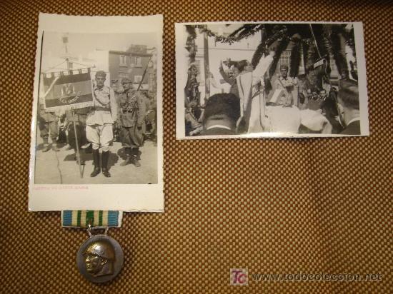 LEGION ITALIANA. CONJUNTO DE 5 FOTOGRAFIAS Y MEDALLA (Militar - Fotografía Militar - Guerra Civil Española)