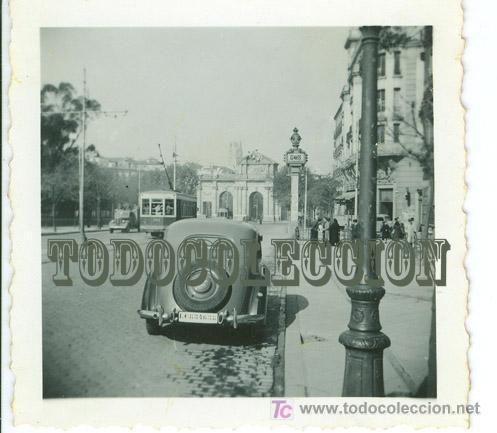 COCHE MATRICULA LEGION CONDOR GUERRA CIVIL, FOTO 6,2 X 6,2 CM. MADRID PUERTA ALCALA TRANVIA 922 (Militar - Fotografía Militar - Guerra Civil Española)