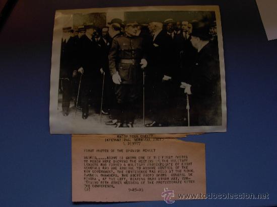 FOTOGRAFIA AUTENTICA CAPITAN GENERAL PRIMO DE RIVERA 25-9- AÑO 1923 (Militar - Fotografía Militar - Guerra Civil Española)