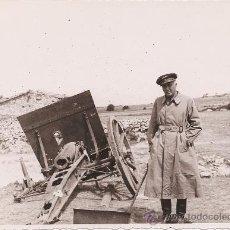 Militaria: FOTOGRAFIA ORIGINAL GUERRA CIVIL - CAÑON DESTRUIDO POR BOMBA JUNTO REPUBLICANO - 23 MARZO 1938. Lote 24301734