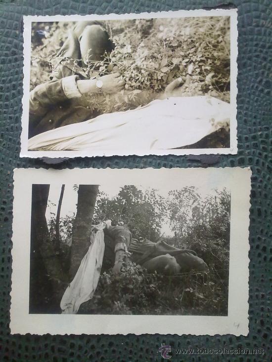 2 FOTOS ORIGINALES ALEMANAS ,FRANCOTIRADOR FRANCES ABATIDO ,IIWW (Militar - Fotografía Militar - II Guerra Mundial)