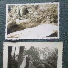 Militaria: 2 FOTOS ORIGINALES ALEMANAS ,FRANCOTIRADOR FRANCES ABATIDO ,IIWW. Lote 27062465