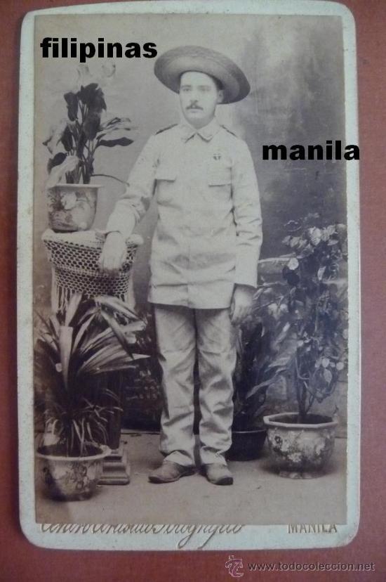 (JX-56)FOTOGRAFIA ALBUMINA OFICIAL EN LAS CAMPAÑAS DE FILIPINAS SIGLO XIX (10X6 CM.) (Militar - Fotografía Militar - Otros)