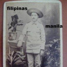 Militaria: (JX-56)FOTOGRAFIA ALBUMINA OFICIAL EN LAS CAMPAÑAS DE FILIPINAS SIGLO XIX (10X6 CM.). Lote 19902512