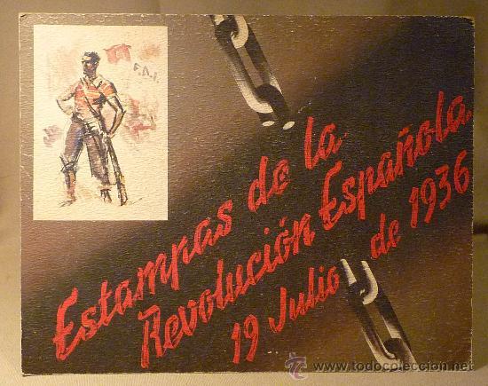 CARTEL, ANUNCIO, ESTAMPAS DE LA REVOLUCION ESPAÑOLA DE 1936, CARTON, 27 X 65 CM (Militar - Fotografía Militar - Guerra Civil Española)