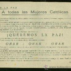Militaria: CARTEL PEQUEÑO DE POR LA PAZ A TODAS LAS MUJERES CATOLICAS. . Lote 24146653