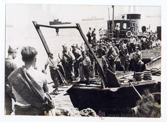 J. A. PUIG FARRAN. DESEMBARCO DE LAS MILICIAS EN MALLORCA. 1936. ORIGINAL DE EPOCA. (Militar - Fotografía Militar - Guerra Civil Española)