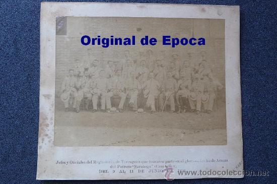 (JX-314)FOTOGRAFIA ALBUMINA SIGLO XIX JEFES Y OFICIALES REGIMIENTO TARRAGONA CAMPAÑA DE CUBA (Militar - Fotografía Militar - Otros)