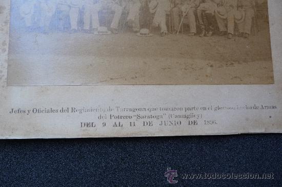 Militaria: (JX-314)FOTOGRAFIA ALBUMINA SIGLO XIX JEFES Y OFICIALES REGIMIENTO TARRAGONA CAMPAÑA DE CUBA - Foto 5 - 26029873