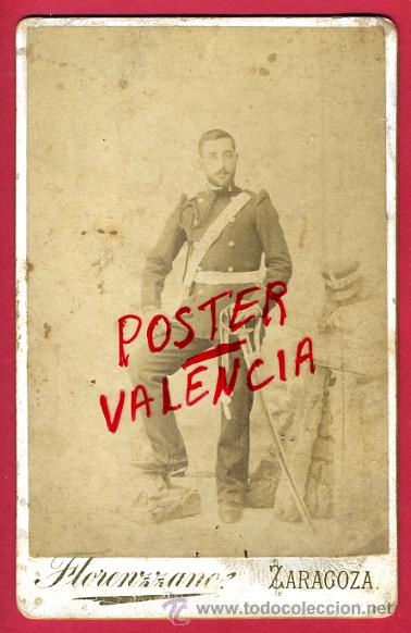 FOTO MILITAR, ESPAÑOL CON SABLE , ALBUMINA, FOTO FLORENZZANO ZARAGOZA , ANTIGUA , ORIGINAL, 7 (Militar - Fotografía Militar - Otros)