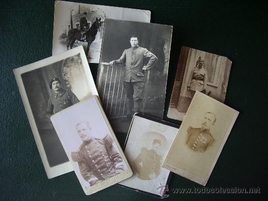 LOTE 7 ANTIGUAS FOTOS DE MILITARES. (Militar - Fotografía Militar - Otros)