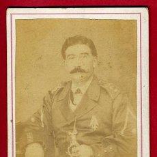 Militaria: FOTO MILITAR, ESPAÑOL CON SABLE, POSIBLEMENTE GUERRA DE CUBA , TARJETA VISITA, ORIGINAL,S. Lote 27649054