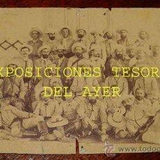 Militaria: ANTIGUA FOTOGRAFIA ALBUMINA DE SOLDADOS ESPAÑOLES EN CUBA CON EL TRAJE DE RAYADILLO - EXCEPCIONAL FO. Lote 28423916