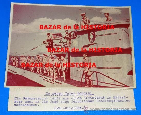 RARA FOTO DE PRENSA ALEMANIA EN COLOR SOBRE PAPEL AGFA - SUBMARINOS UBOOT (Militar - Fotografía Militar - II Guerra Mundial)