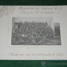 Militaria: FOTOGRAFIA REGIMIENTO DE VALENCIA N.23, 1ERA COMPAÑÍAN DEL 1ER BATALLÓN - 20 DICIEMBRE 1921. Lote 29370555