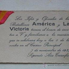 Militaria: INVITACIÓN BATALLONES AMERICA Y LA VICTORIA.AÑO 1937. Lote 29385073