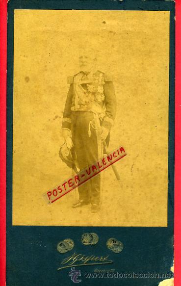 FOTO MILITAR, ALBUMINA, SABLE Y CONDECORACIONES , FOTOGRAFO GISPERT MADRID, GRANDE , ORIGINAL, B42 (Militar - Fotografía Militar - Otros)