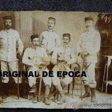 Militaria: (JX-119)FOTOGRAFIA DE GRUPO DE OFICIALES CON UNIFORME DE RAYADILLO REG.Nº53 AFRICA O CUBA??). Lote 30718838