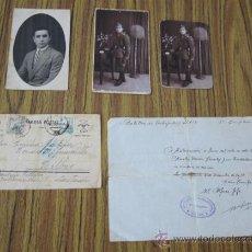 Militaria - Lote Guerra civil .. 1 pase – 1 tarjeta postal – 3 fotografías - 31164067