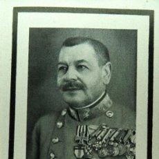 Militaria: ESQUELA - GENERAL AUSTROHÚNGARO - ORDEN MARIA TERSA, CRUZ DE HIERRO, MEDALLA ESPAÑOLA ALFONSO XIII . Lote 120636560
