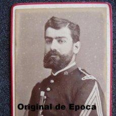 Militaria: (JX-167)FOTOGRAFIA DE OFICIAL DE INFANTERIA REG.Nº19 REALIZADA EN MATARO SIGLO XIX. Lote 32012845