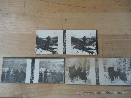 3 FOTOGRAFIAS ESTEREOSCOPICAS DE LA PRIMERA GUERRA MUNDIAL, ORIGINALES. (Militar - Fotografía Militar - I Guerra Mundial)