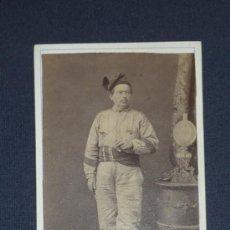 Militaria: ANTIGUA FOTOGRAFIA DE UN VOLUNTARIO CATALAN EN GUERRA DE AFRICA, 1860. GENERAL PRIM.. Lote 32296175