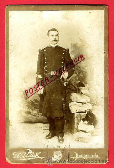 FOTOGRAFIA MILITAR, ALBUMINA ,CON SABLE, FOTO W. POLAK BARCELONA , ORIGINAL, G39 (Militar - Fotografía Militar - Otros)