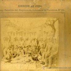 Militaria: 2 FOTOS DE EJERCITO DE LA GUERRA DE CUBA PRIMER BATALLON DEL REGIMIENTO INFANTERIA DE VALENCIA ... .. Lote 34124803