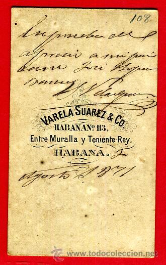 Militaria: FOTOGRAFIA MILITAR, FOTO ALBUMINA TARJETA VISITA 1871 , CUBA , F108 - Foto 2 - 34197991