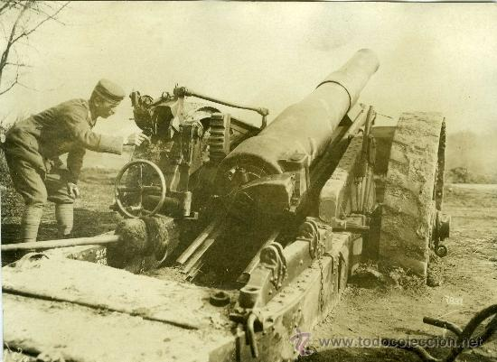 FOTOGRAFIA I GUERRA MUNDIAL PIEZA ARTILLERIA CON SOLDADO (Militar - Fotografía Militar - I Guerra Mundial)