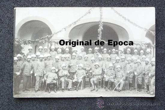 (JX-663)FOTOGRAFIA DE GRUPO DE JEFES Y OFICIALES CON SALACOF,CAMPAÑA DE AFRICA (Militar - Fotografía Militar - Otros)