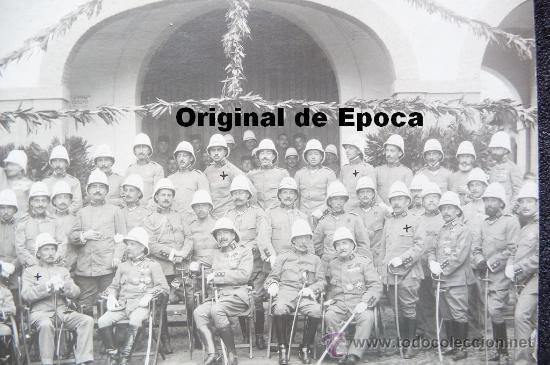 Militaria: (JX-663)FOTOGRAFIA DE GRUPO DE JEFES Y OFICIALES CON SALACOF,CAMPAÑA DE AFRICA - Foto 3 - 35611373