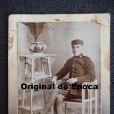 Militaria: (JX-819)FOTOGRAFIA DE SOLDADO DE ARTILLERIA,REALIZADA EN MELILLA,EPOCA ALFONSINA. Lote 36367878