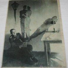 Militaria: FOTOGRAFIA EN PAPEL RECIO GRIS DE LA II GUERRA MUNDIAL - SOLDADO JUNTO A DIBUJO. Lote 37082480