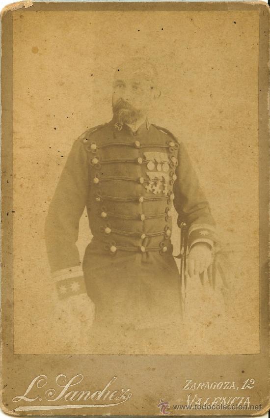 FOTOGRAFÍA DE TENIENTE CORONEL - FOTÓGRAFO L. SÁNCHEZ - VALENCIA - SIGLO XIX (Militar - Fotografía Militar - Otros)