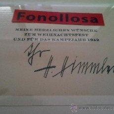 Militaria: FOTO DE DOCUMENTO Y FIRMA DE H. HIMMLER 13X18 CMS. Lote 37218566