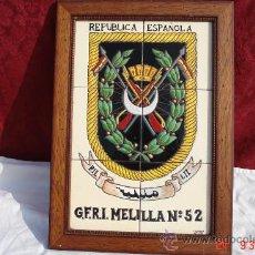 Militaria: BONITO CUADRO DE LA REPUBLICA ESPAÑOLA -GRUPO DE FUERSA REGULARES INDIGENAS MELILLA Nº 52. Lote 39168060