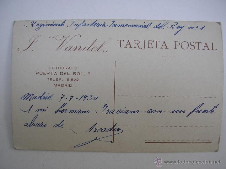 Militaria: SOLDADO REGIMIENTO INFANTERÍA INMEMORIAL DEL REY Nº 1,MADRID 1930,FOTÓGRAFO VANDEL - Foto 5 - 39505954