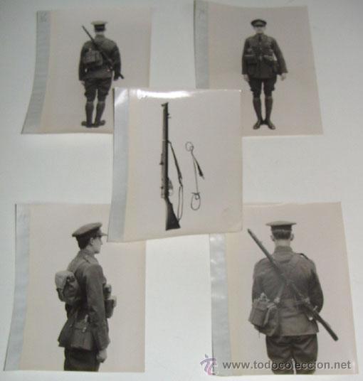 LOTE DE 5 FOTOS PERTENECIENTES SEGURAMENTE A CATALOGO DE MATERIAL PARA UNIFORMES - POSIBLEMENTE INGL (Militar - Fotografía Militar - Otros)