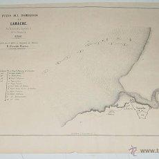 Militaria: ANTIGUO PLANO DEL BOMBARDEO DE LARACHE POR LA ESCUADRA ESPAÑOLA EL 28 DE FEBRERO DE 1860, REMITIDO P. Lote 38260156