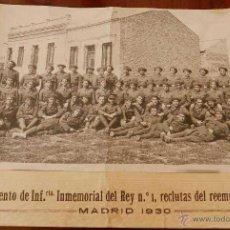 Militaria: ANTIGUA FOTOGRAFIA DEL REGIMIENTO DE INFANTERIA INMEMORIAL DEL REY Nº 1, RECLUTAS DEL REEMPLAZO DEL . Lote 38270114