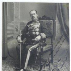 Militaria: ANTIGUA FOTOGRAFIA DE GENERAL CONDECORADO CON BASTON DE MANDO, CON FIRMA Y DEDICATORIA MANUSCRITA EN. Lote 38283147