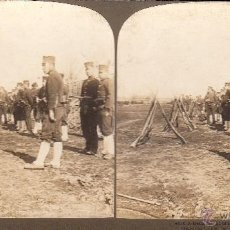 Militaria: FOTO ESTEREOSCOPICA :'DETACHMENT OF INFANTRY IN THE FIELD'. EJERCITO JAPONES 18 X 9 CM. Lote 40838934
