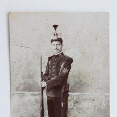 Militaria: FOTOGRAFIA GASTADOR NUMERO 18 CON BAYONETA Y MACHETE 1881 FOTO. Lote 41252833