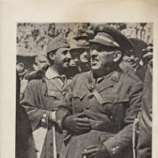 Militaria: HOJA SUELTA / FOTO - GENERAL SANJURJO Y EL CORONEL FRANCO - CRUZADAS - AÑOS 40 - . Lote 42624336