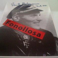 Militaria: FASCIMIL DE ERICH HARTMANN FIRMADA 13X18 CMS. Lote 43021591