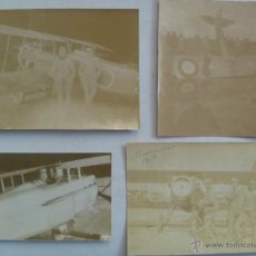 Militaria: 1ª GUERRA MUNDIAL : LOTE 4 FOTOS DE AVIACION : AVION BIPLANO, DERRIBADO , ETC . . Lote 44106860